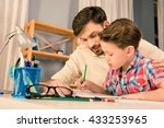 happy family. father and son... | Shutterstock . vector #433253965