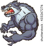 angry strong wolf mascot.... | Shutterstock .eps vector #433267276