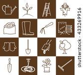 set of garden tools  brown line ... | Shutterstock .eps vector #433269916