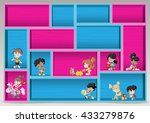 colorful wood shelf with happy... | Shutterstock .eps vector #433279876