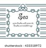 rope with knot frame. sea... | Shutterstock .eps vector #433318972