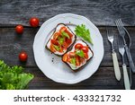 toast sandwiches with fresh... | Shutterstock . vector #433321732