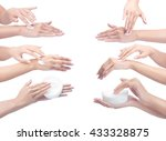 collage of a woman hands with... | Shutterstock . vector #433328875