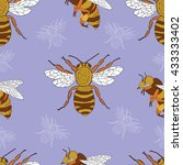 seamless summer pattern with... | Shutterstock .eps vector #433333402