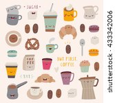 super cute set of coffee icons  ... | Shutterstock .eps vector #433342006