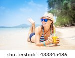 beautiful sunset on the beach | Shutterstock . vector #433345486