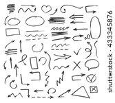set of hand drawn arrow. vector ... | Shutterstock .eps vector #433345876