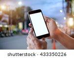 smart phone showing blank...   Shutterstock . vector #433350226
