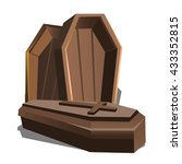 wooden coffins with a cross on... | Shutterstock .eps vector #433352815