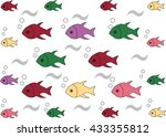 colorful fishes and bubbles... | Shutterstock .eps vector #433355812
