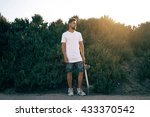 young male wearing a blank... | Shutterstock . vector #433370542