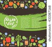 vegan diet. healthy food... | Shutterstock .eps vector #433387168