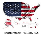 flag map usa territories... | Shutterstock . vector #433387765