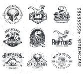 Set Of Dino Logos. T Rex Skull...