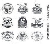 Set Of Dino Logos. T Rex Skull...