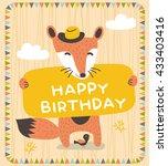 Stock vector cute fox birthday card design 433403416