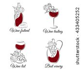 wine hand drawn vector set. can ... | Shutterstock .eps vector #433405252