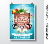 vector summer beach party flyer ... | Shutterstock .eps vector #433410802