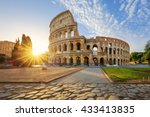 view of colosseum in rome and... | Shutterstock . vector #433413835
