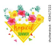 tropical summer poster with... | Shutterstock .eps vector #433417222