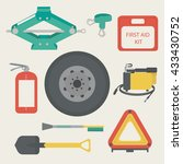 tow rope  first aid kit  fire... | Shutterstock .eps vector #433430752