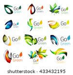 set of abstract leaves. nature... | Shutterstock .eps vector #433432195