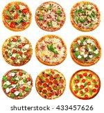 set of different pizzas... | Shutterstock . vector #433457626