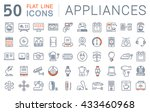 set vector line icons in flat... | Shutterstock .eps vector #433460968