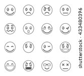 emoticon icons set  thin line... | Shutterstock . vector #433480396