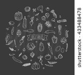 hand drawn doodle vegetables... | Shutterstock .eps vector #433488478