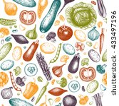 colorful vegetables pattern.... | Shutterstock .eps vector #433497196