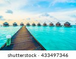 beautiful tropical maldives... | Shutterstock . vector #433497346