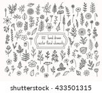 collection of hand drawn floral ... | Shutterstock .eps vector #433501315