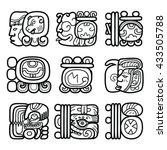 maya glyphs  mayan writing...   Shutterstock .eps vector #433505788
