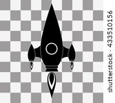 vector black rocket icon on...