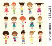 valentine kids   Shutterstock .eps vector #43351255