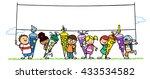 many cartoon children with...   Shutterstock . vector #433534582