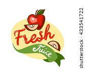 colorful fresh juice emblem ... | Shutterstock .eps vector #433541722
