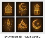 a beautiful greeting card set... | Shutterstock .eps vector #433568452