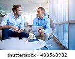 smiling business partners... | Shutterstock . vector #433568932