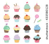 cute cupcakes set. birthday... | Shutterstock .eps vector #433580128