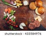 hamburger ingredients in a... | Shutterstock . vector #433584976