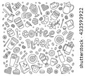 coffee place vector set. line... | Shutterstock .eps vector #433593922