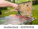 male hand mixing dark colors of ... | Shutterstock . vector #433594936
