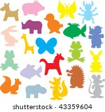 Stock vector silhouettes of animals 43359604