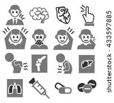 office syndrome  sick icons set | Shutterstock .eps vector #433597885