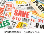 saving coupon voucher with... | Shutterstock . vector #433599718