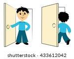 the boy enters a door. clip art ...   Shutterstock .eps vector #433612042