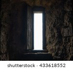 dark room with stone walls and... | Shutterstock . vector #433618552