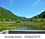 italian alps view of the lake... | Shutterstock . vector #433621075